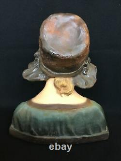 Young Women's Bust Art Deco In Plaster Signed Citti Frères Number 112