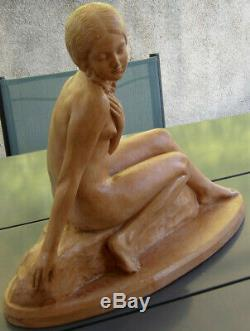 Zoltan Kovats 1883-1952 Large Sculpture Art Deco Young Naked Woman In Rock