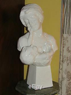 03C18 ANCIENNE STATUE 62cm PLTRE BUSTE FEMME ENFANT ART DÉCO SIGNE CITTI FRERES