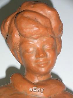 08b46 Ancienne Statue Terre Cuite Femme Et Enfant Sur La Plage Art Déco Signe