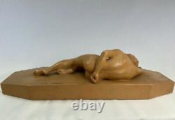 1920/1930 D. Daniel Sculpture Femme Couchee Art Deco Terre Cuite Statue Erotique