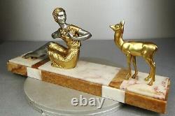 1920/1930 Dh. Chiparus Rare Statue Sculpture Epoque Art Deco Femme Elegante Faon