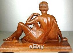 1920/1930 Joe Descomps Rare Grde Statue Sculpture Art Deco Femme Nue Terre Cuite