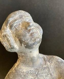 1920/1930 LIMOUSIN 2 Grandes SCULPTURES ART DECO DANSEUSE FEMME NUE serres livre
