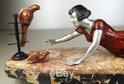 1920/1930 Molins Balleste Rare Statue Sculpture Art Deco Femme Oiseau Perroquets