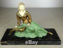 1920/1930 U Cipriani Rar Statue Sculpture Art Deco Patine Chryselephantine Femme