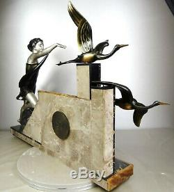1920/1930 Uriano Rare Pendule Statue Sculpture Art Deco Femme Elegante Cigognes