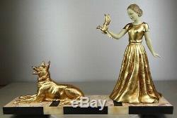 1920/30 Limousin Statue Sculpture Art Deco Patine Chryselephantine Femme Oiseau