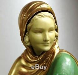 1920/30 Menneville Statue Sculpture Chryselephantine Ep. Art Deco Femme Levrier