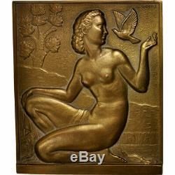 #404191 France, Médaille, Art Déco, Femme à la Colombe, Arts & Culture