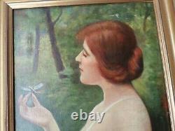 ALEXANDRE ALAUX (1851-1932)-Huile/toile-femme au libellule-1918-Art-Déco-oil