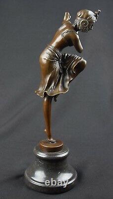 ART DÉCO FIGURE DE BRONZE DANSEUSE FEMME HINDU DANCER H39,1 cm