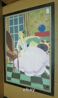 ART DECO MODE gouache sur papier marouflée sur panneau La Coquetterie femme