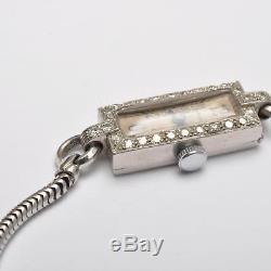 ART DÉCO MONTRE BRACELET pour femmes, platine avec diamants, Waltham USA