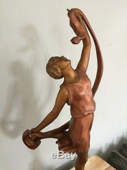 ART DECO STATUE FEMME DANSEUSE A L'ECHARPE signée P. SEGA FRANCE socle marbre