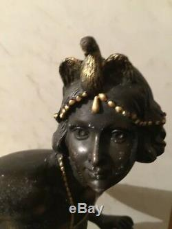 ART DECO Vintage Statue toute en Bronze Belle Femme Danseuse 8.2 kg Lambertini