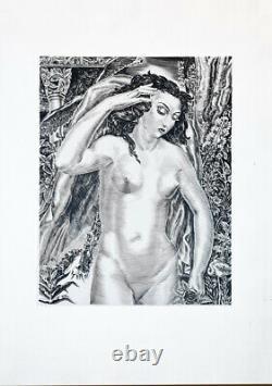 Albert Decaris (attribué) Femme art déco superbe grande pointe sèche 1940 71x49