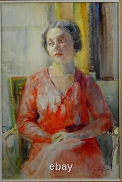 Albert Pinot, Beau Portrait Art Déco Jeune Femme Pensive, 300 Résultats Artprice