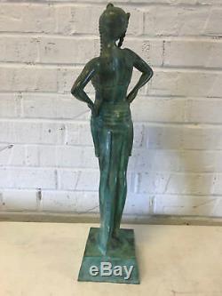 Ancien Art Déco Vert Patiné Bronze Sculpture Russe Danseuse Femme