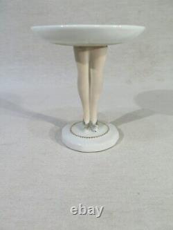 Ancien Baguier Coupe Porcelaine Support Houppette Fard Jambes Femme Art Deco