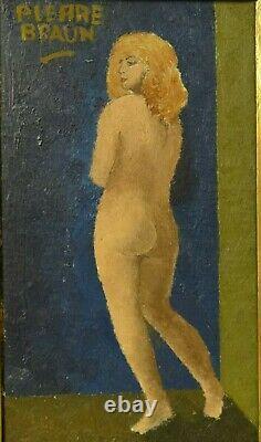 Ancien Tableau Peinture Huile Toile Portrait Femme Nue Art Deco Signe Braun