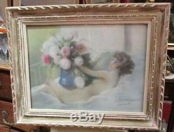 Ancien tableau pastel 1930 signé seberger femme nue nu bouquet fleurs art deco