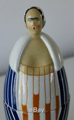 Ancienne Boite Bonbonnière En Porcelaine Femme Art Deco Signee Robj