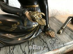 Ancienne Chryséléphantine Art Déco / Femme et Biche