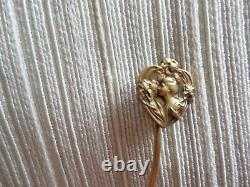 Ancienne Épingle à Cravate/chapeau-OR MASSIF 18K-femme ART-DÉCO-Solid GOLD