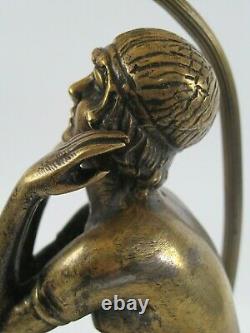 Ancienne Lampe de salon ART DECO Bronze massif patiné Femme nue assise colonne