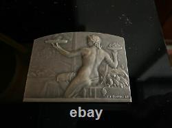 Ancienne Medaille Argent Femme Art Deco Signe R Lamourdedieu Vintage