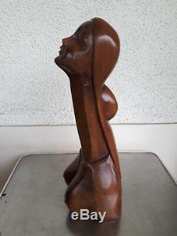 Ancienne Sculpture Erotique Femme Nue En Bois Phallus Seins Art Deco Godemichet