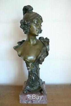 Ancienne Sculpture Statue Bronze Jeune Femme Signee H Jacobs Epoque 1900/10