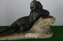 Ancienne Statue Art Deco En Platre Femme Nue Par Pradier Annee 50 Style