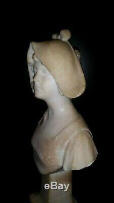 Ancienne Statue Sculpture Statuette Jeune Fille Femme Marbre Art Deco Nouveau 27