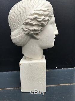 Ancienne Statue Tete De Femme Art Deco En Terre Cuite Signee
