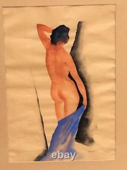 Ancienne gouache Signé Gustave BUCHET femme nue art deco nude woman modernist