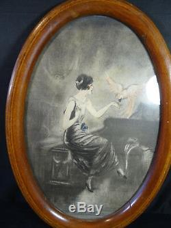 Ancienne gravure estampe art déco femme au perroquet MILLIERE