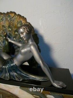 Ancienne pendule horloge sculpture art deco 1930 LIMOUSIN statue femme au paon