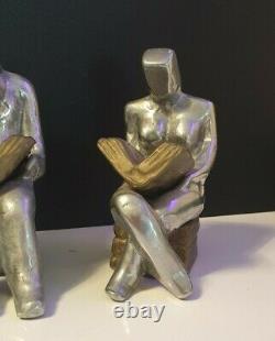 Anciens Serre-livres Style Art Déco Bronze Couple Homme Femme Qui Lit Lecture