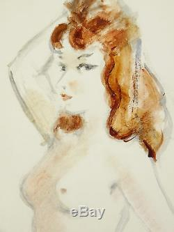 André DIGNIMONT (1891-1965)GRANDE AQUARELLE FEMME NUE 64 x 50 cm NUDE NACHT