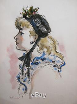 Andre Dignimont Aquarelle Dessin Portrait Femme Jeune Fille Profile Chapeau Art
