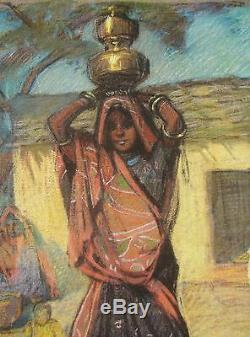 Andree Karpeles Pastel Femme Indienne Tableau Voyage Inde Art Deco Dessin Indien