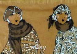 Aquarelle ART DECO MODE Femmes Elegantes en Fourrures. Genre Icart, Kirchner