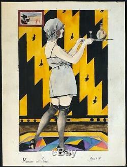 Aquarelle Art Deco watercolor signature illisible 1928 Femme érotique France