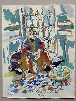 Aquarelle Gouache Femme Orientaliste Africaniste maroc algérie tunisie 1940