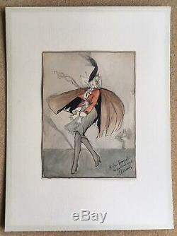 Aquarelle Originale Art Déco Portrait Femme Élégante Parapluie Vent Mariani