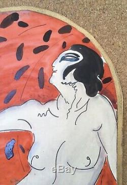 Aquarelle Originale Art Déco Portrait Femme Nue Expressionnisme Russe 1920s