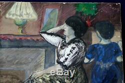 Aquarelle et gouache 1930 signée Gaspard Maillol Femmes en intérieur