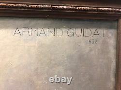 Armand Guidat Portrait de Jeune Femme Brune Art Deco Nancy 1932 Hst 73x92